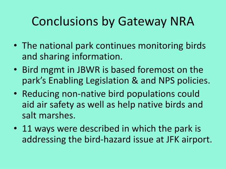 Conclusions by Gateway NRA