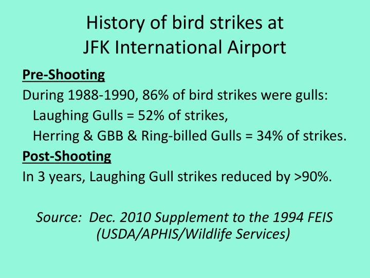 History of bird strikes at