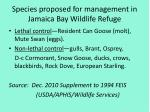 species proposed for management in jamaica bay wildlife refuge