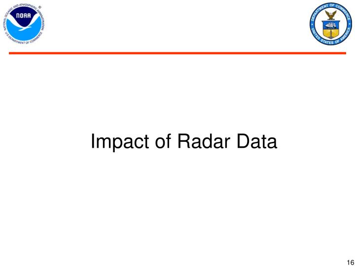 Impact of Radar Data