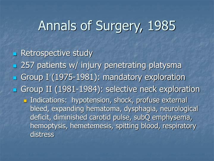 Annals of Surgery, 1985