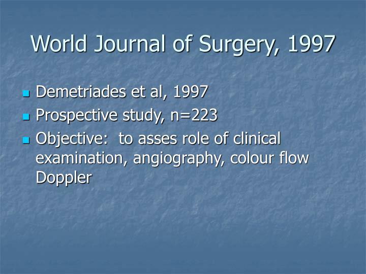 World Journal of Surgery, 1997