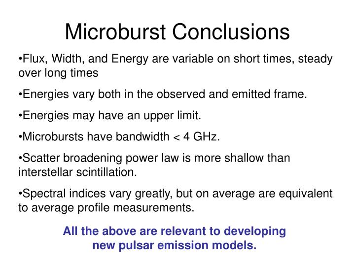 Microburst Conclusions