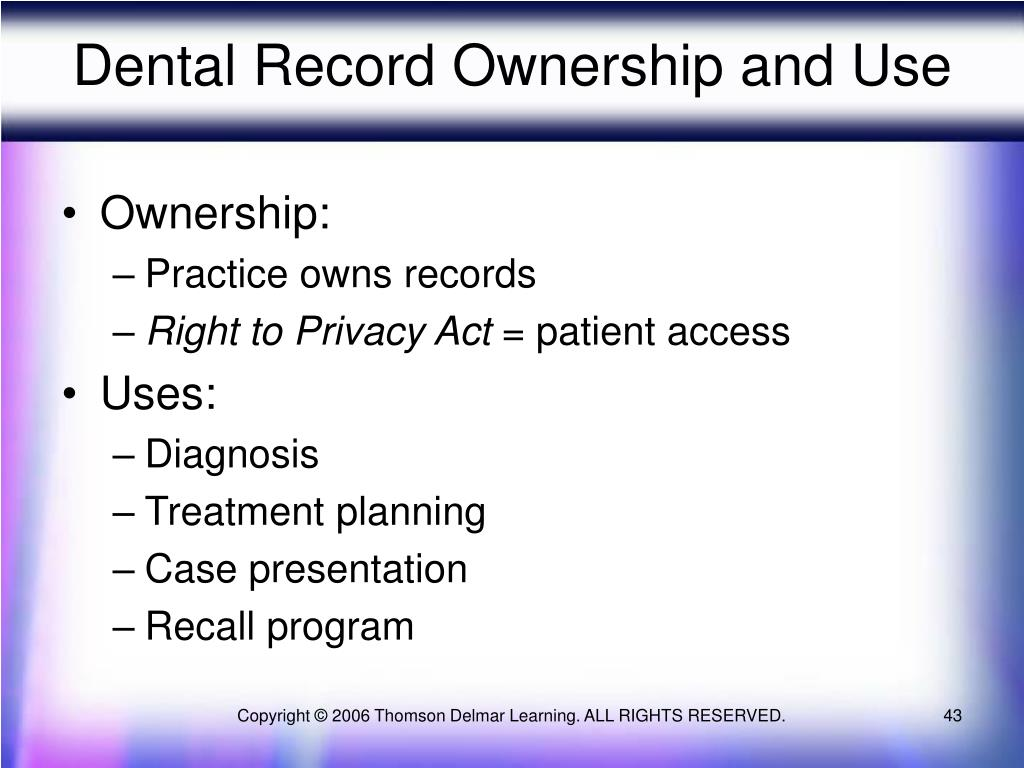 Dental Record Ownership and Use