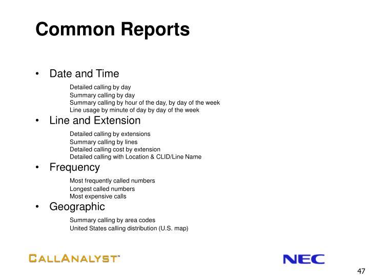 Common Reports