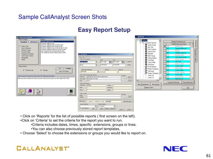 Sample CallAnalyst Screen Shots