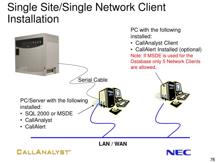 Single Site/Single Network Client Installation