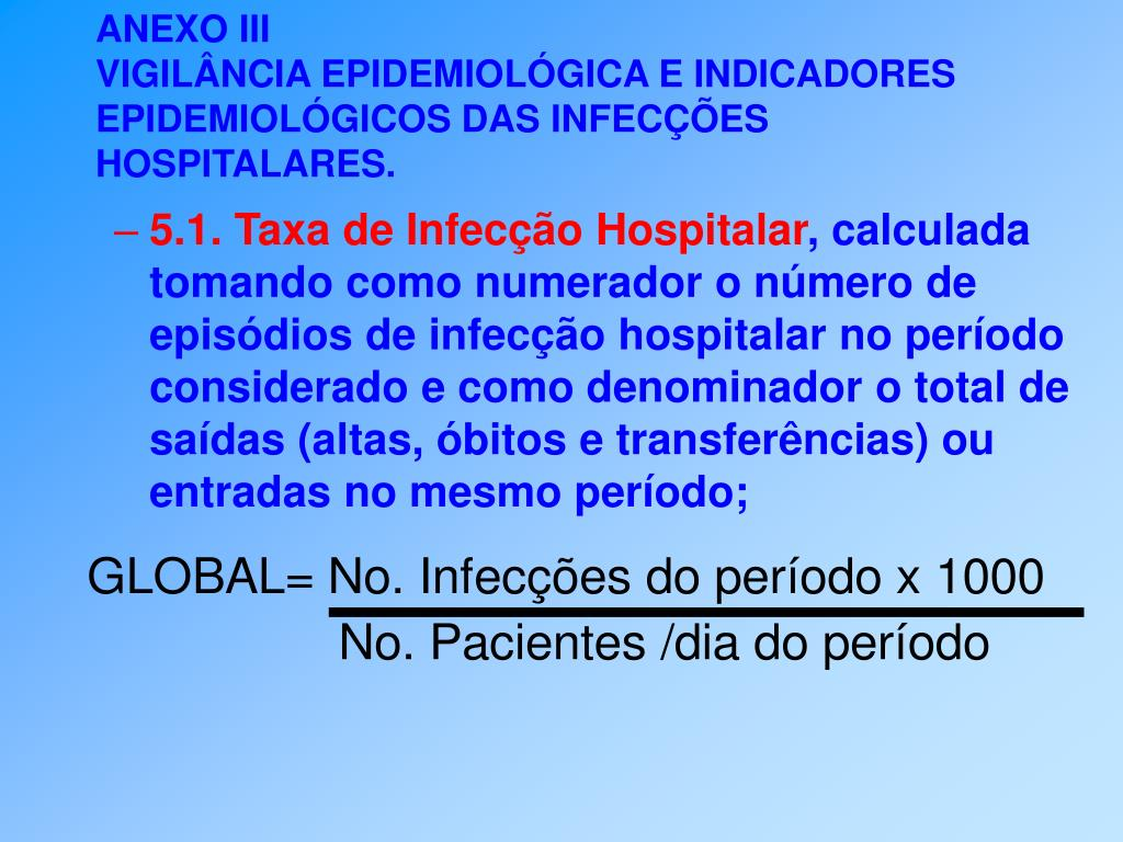 5.1. Taxa de Infecção Hospitalar