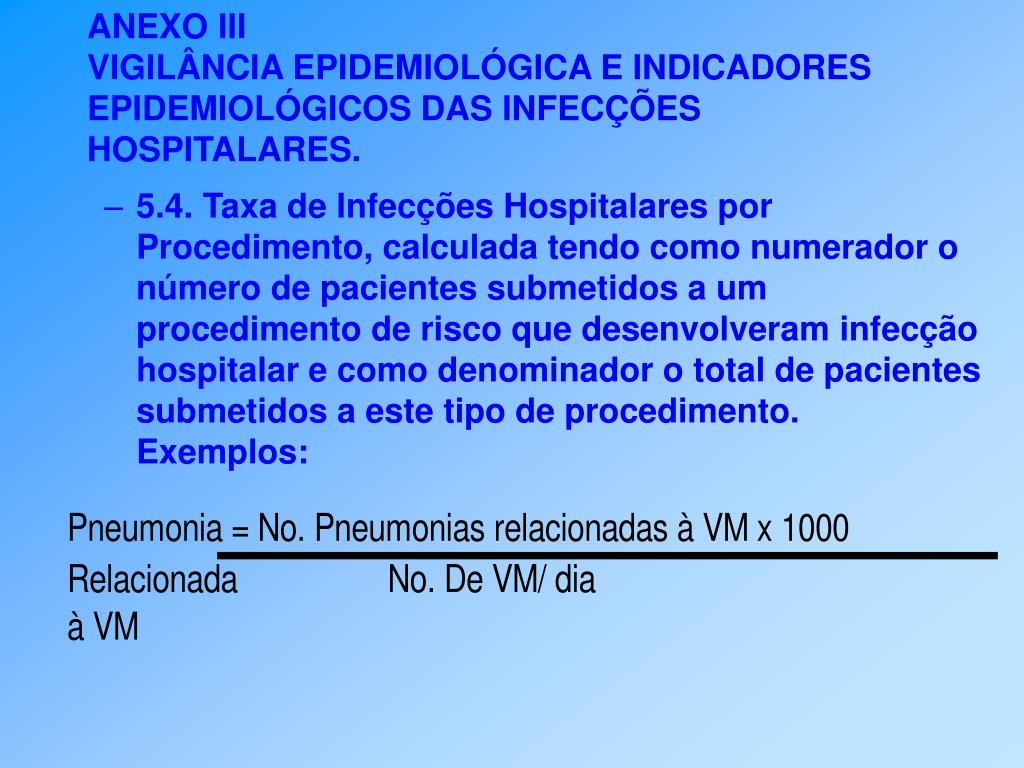 5.4. Taxa de Infecções Hospitalares por Procedimento, calculada tendo como numerador o número de pacientes submetidos a um procedimento de risco que desenvolveram infecção hospitalar e como denominador o total de pacientes submetidos a este tipo de procedimento.
