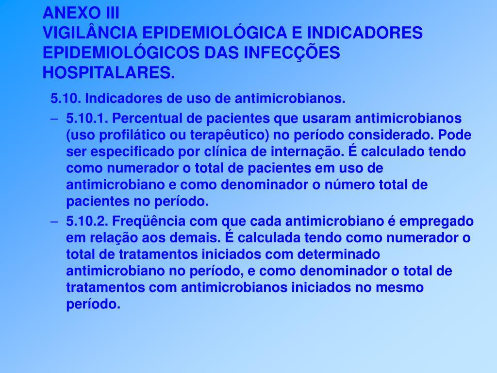 5.10. Indicadores de uso de antimicrobianos.
