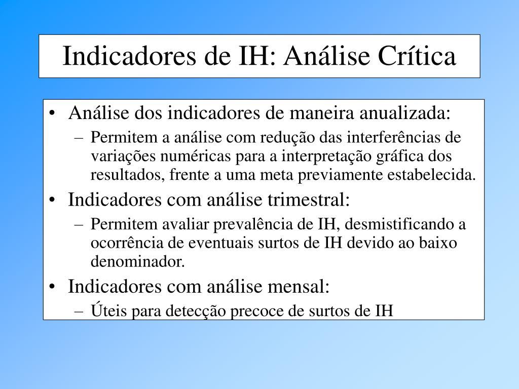 Análise dos indicadores de maneira anualizada: