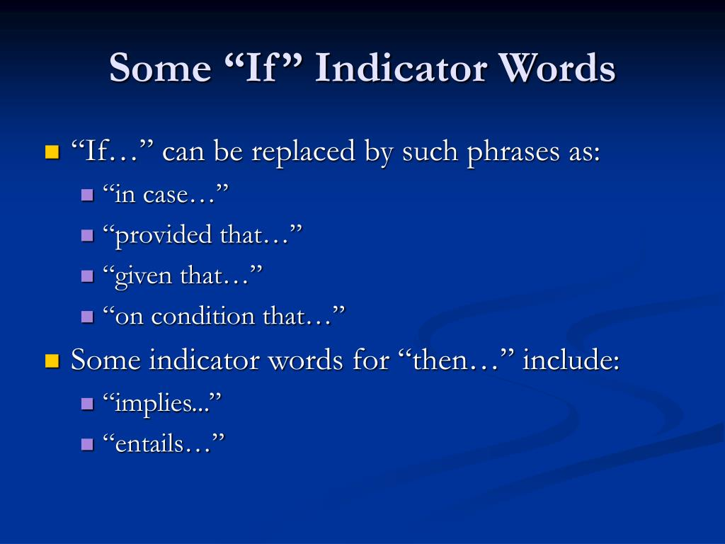 """Some """"If"""" Indicator Words"""