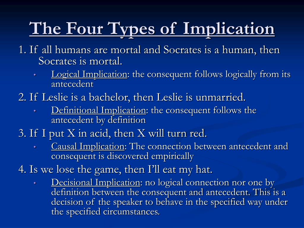 The Four Types of Implication
