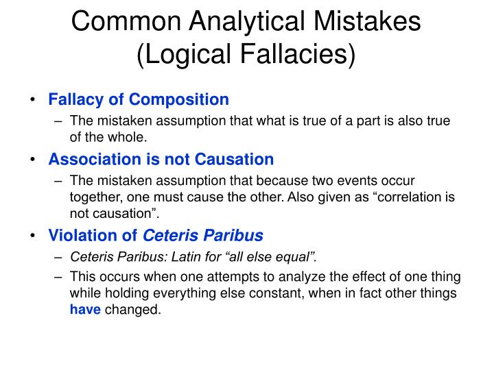 Common Analytical Mistakes (Logical Fallacies)