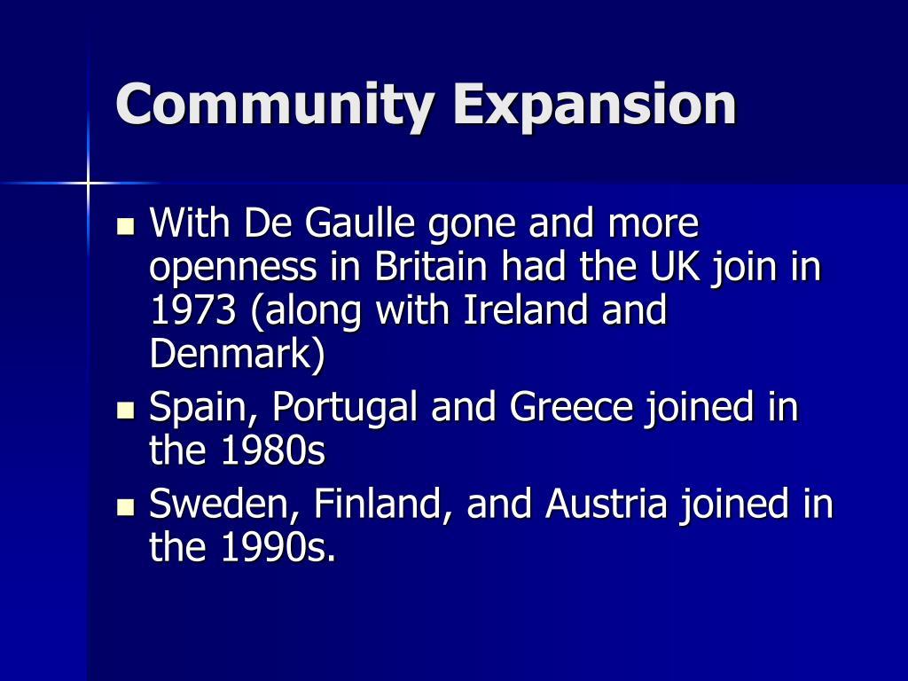 Community Expansion