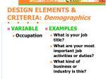 design elements criteria demographics11