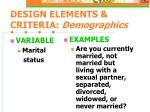 design elements criteria demographics7