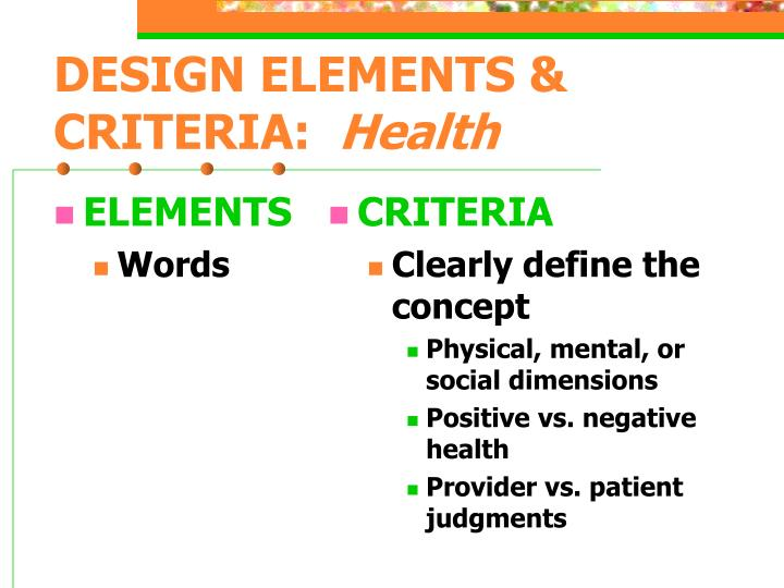 Design elements criteria health