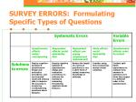 survey errors formulating specific types of questions