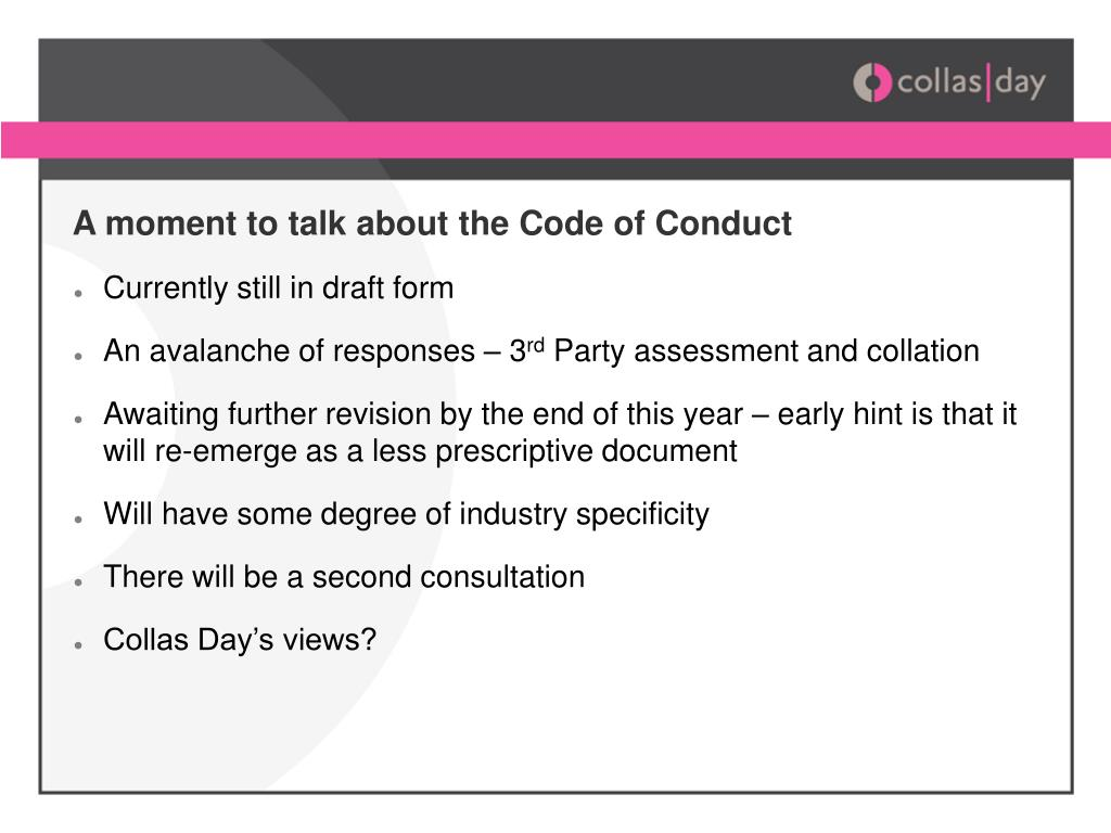 A moment to talk about the Code of Conduct