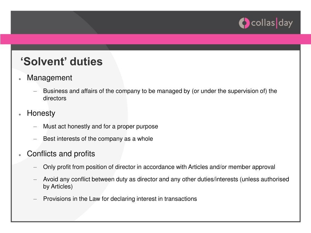 'Solvent' duties