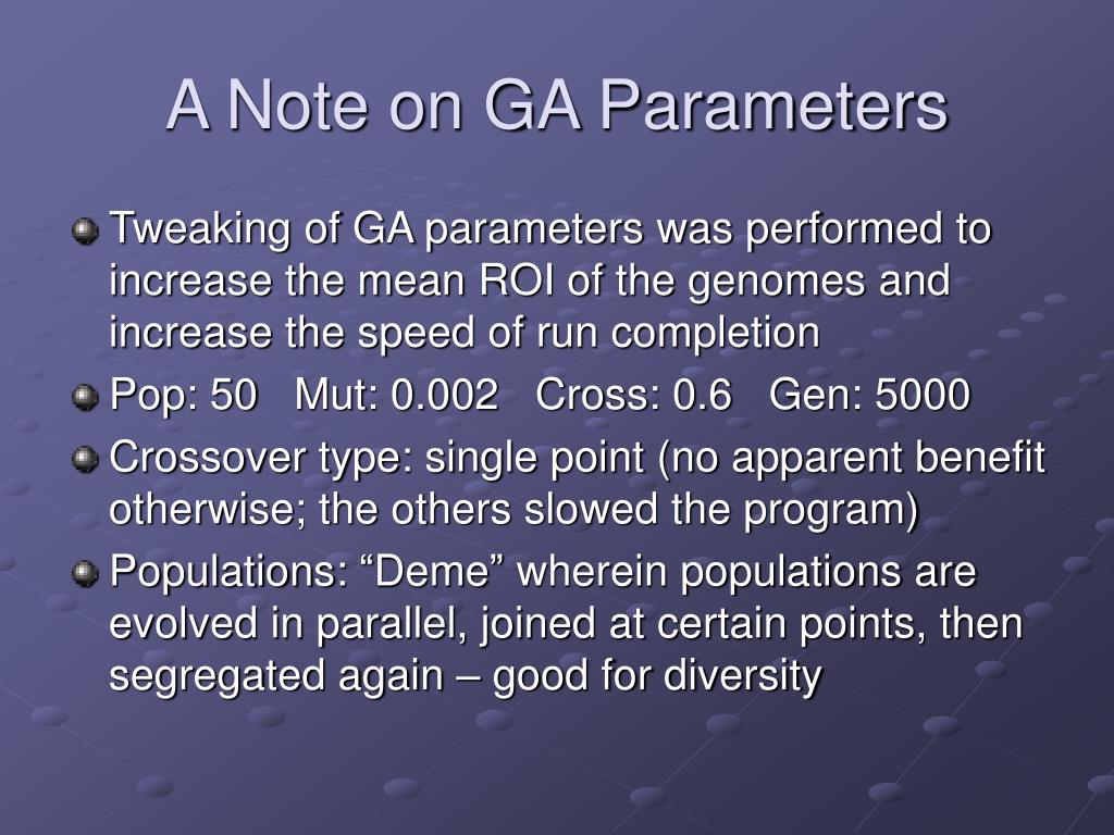 A Note on GA Parameters