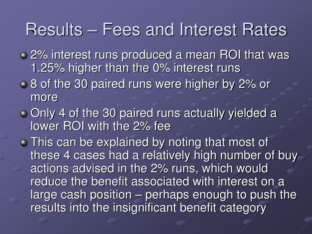 Results – Fees and Interest Rates