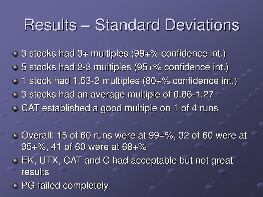 Results – Standard Deviations