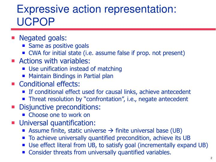Expressive action representation ucpop
