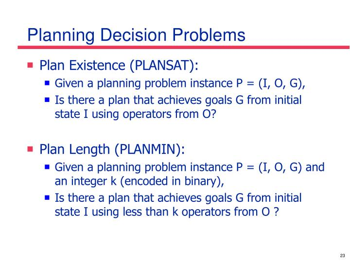 Planning Decision Problems