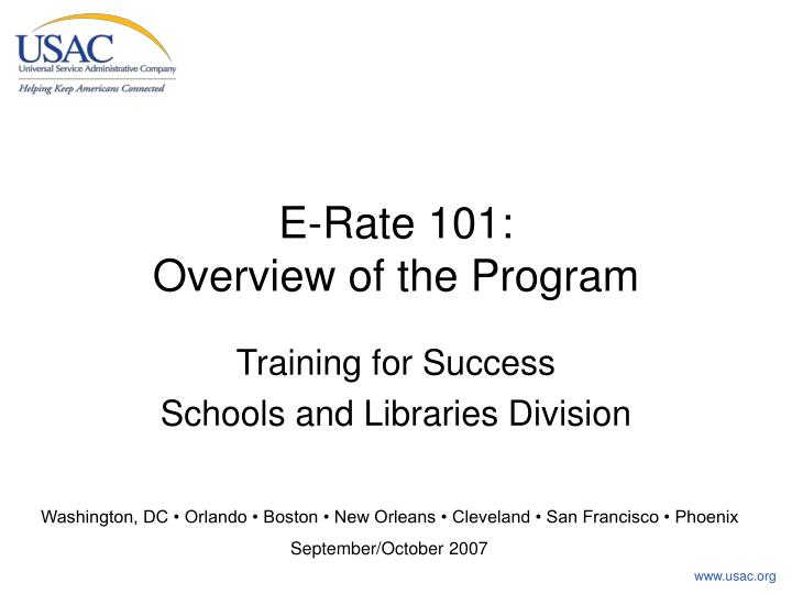 E rate 101 overview of the program