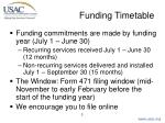 funding timetable