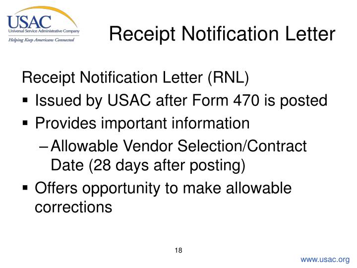 Receipt Notification Letter