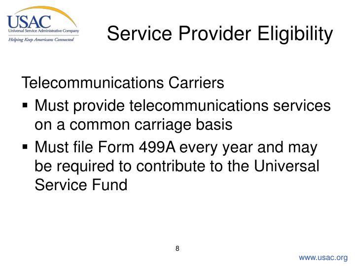 Service Provider Eligibility