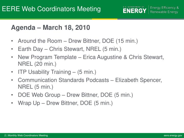 Eere web coordinators meeting