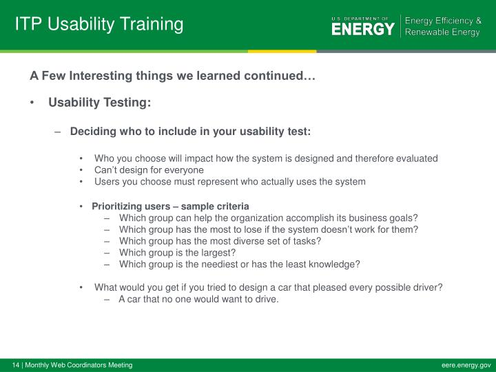 ITP Usability Training