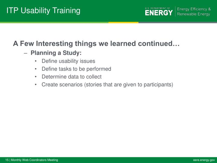 ITP Usability Training
