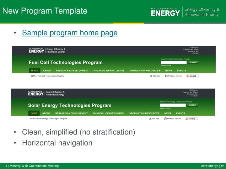 Sample program home page