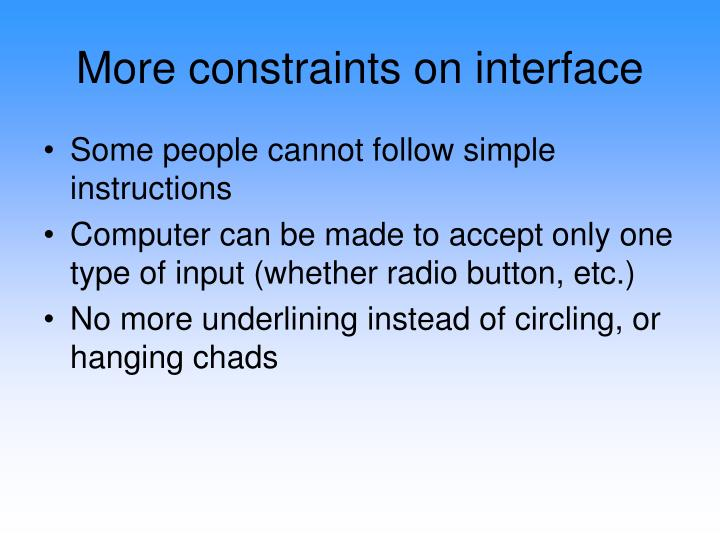 More constraints on interface