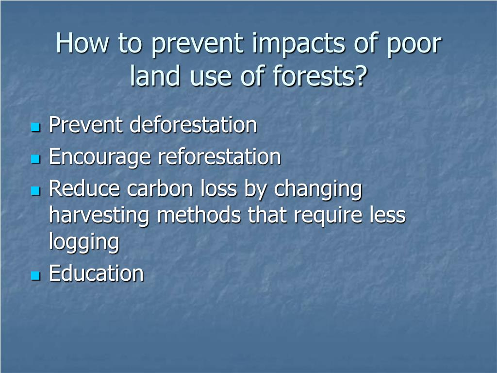 How to prevent impacts of poor land use of forests?