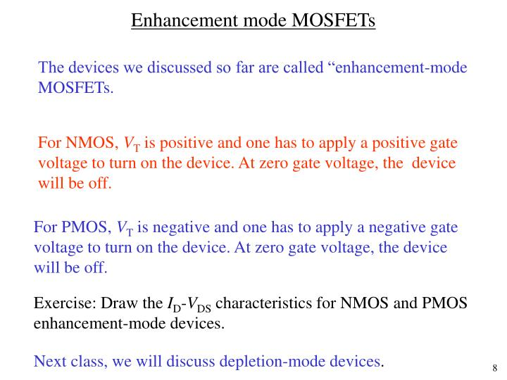 Enhancement mode MOSFETs