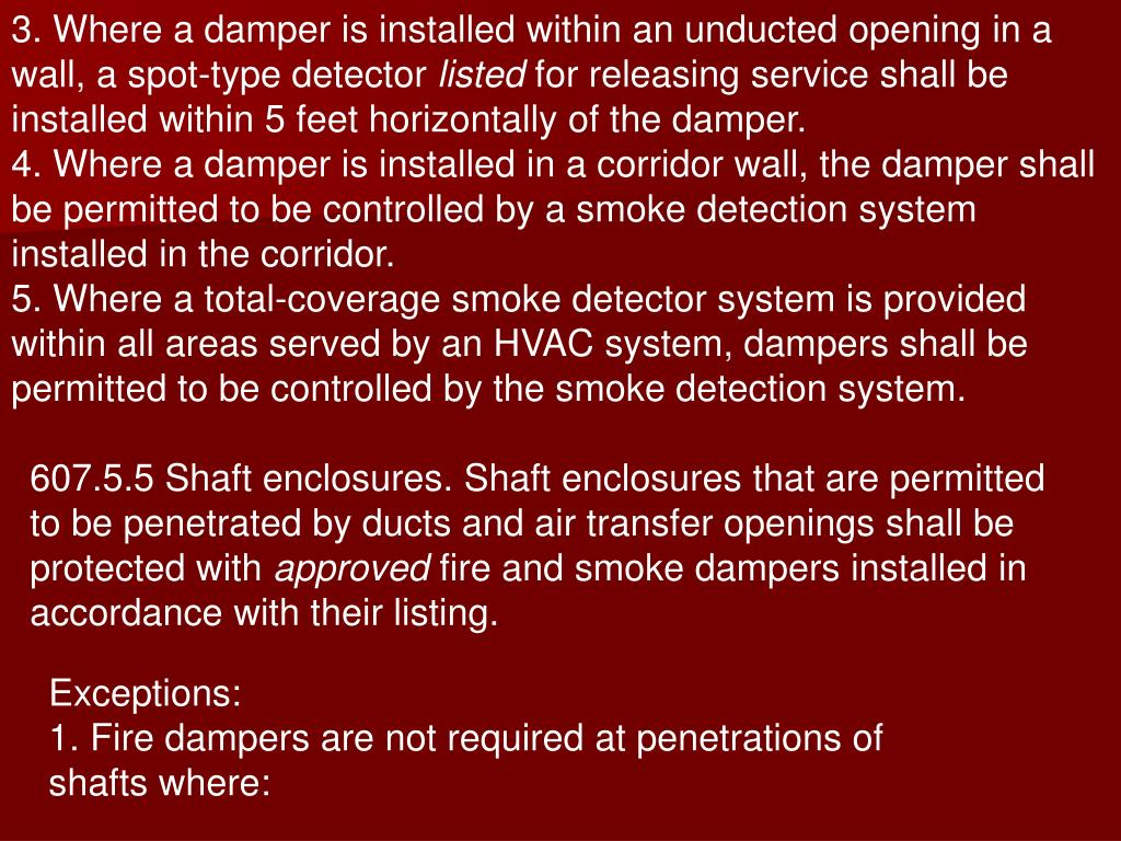 3. Where a damper is installed within an unducted opening in a wall, a spot-type detector