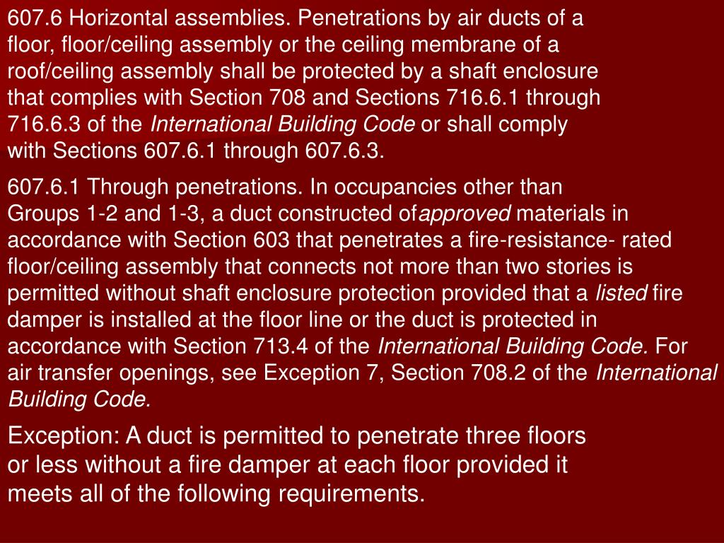 607.6 Horizontal assemblies. Penetrations by air ducts of a