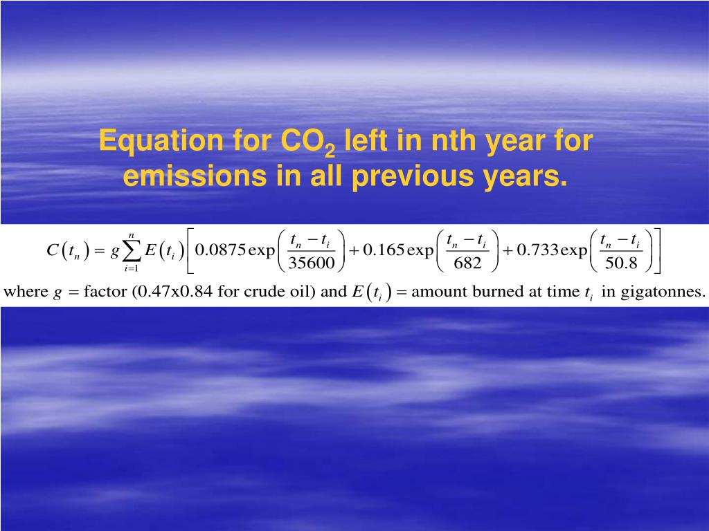 Equation for CO