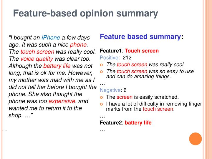Feature-based opinion summary
