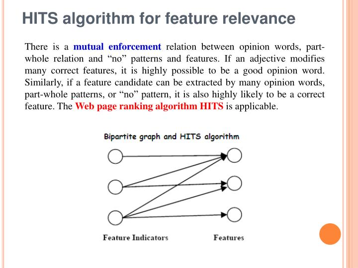HITS algorithm for feature relevance