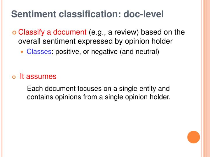 Sentiment classification: doc-level