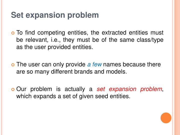 Set expansion problem