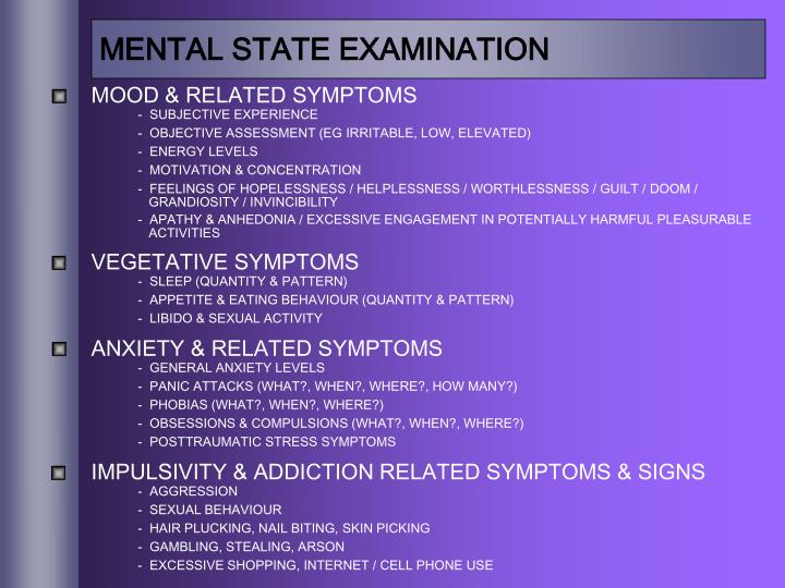MENTAL STATE EXAMINATION