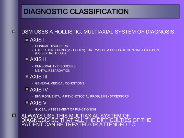 DIAGNOSTIC CLASSIFICATION